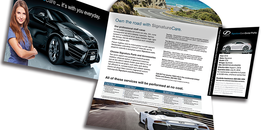 A hyper personalized direct mail piece for the auto industry promoting a customer loyalty program