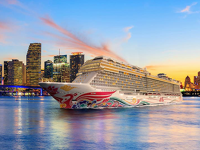 Cruise ship in city environment on direct mail package