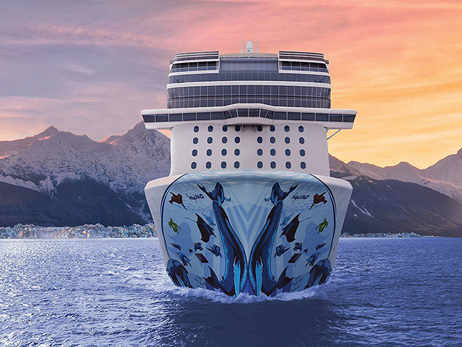 Cruise ship at sea on direct mail package