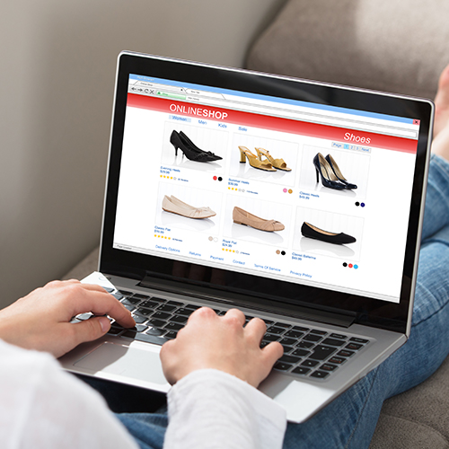 Retail shopping online using a laptop computer