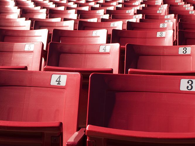 Closeup of seats in a professional baseball stadium