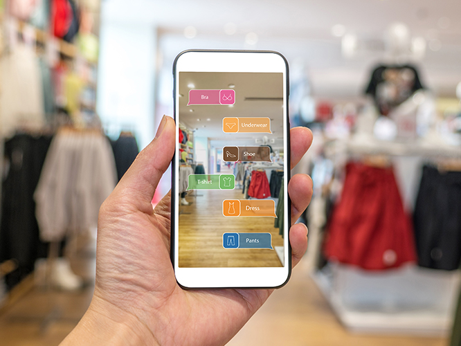 Closeup of augmented reality app on mobile phone in retail store