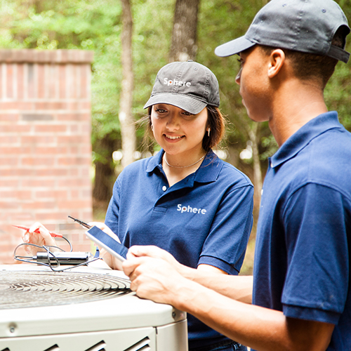 Service employees wearing custom branded apparel with logo