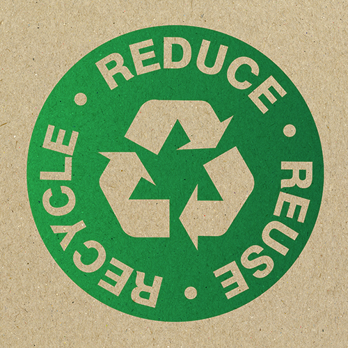 Reduce reuse recycle logo sustainably printed on recycled paper