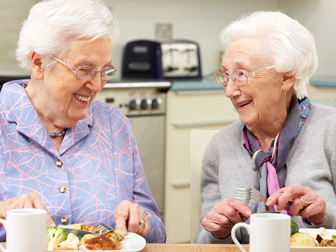 Senior citizens eating meal as example of Catholic Charities marketing outreach