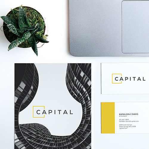 Custom designed business card notecard and marketing brochure corporate collateral