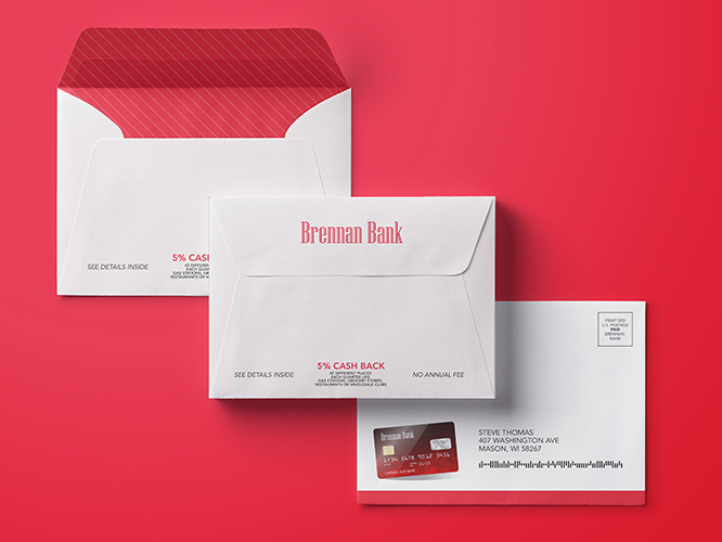 Closeup of custom printed direct mail envelopes and postcard