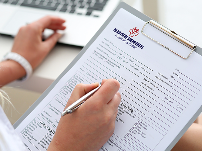 Printed business forms in healthcare setting
