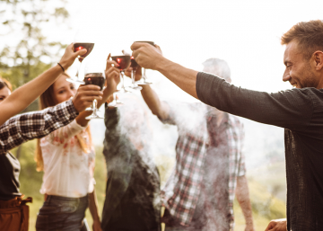 Group of consumers drinking wine
