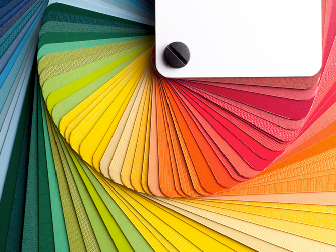 Print color selections being reviewed by G7 certified expert