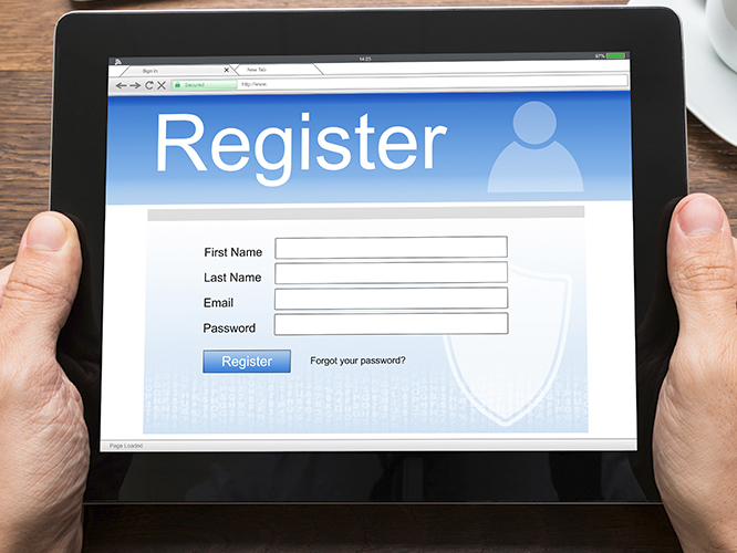 Online registration tool on tablet mobile device as example of marketing automation application