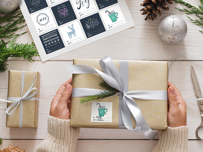 Custom holiday gift wrap and labeling for direct mail shipment