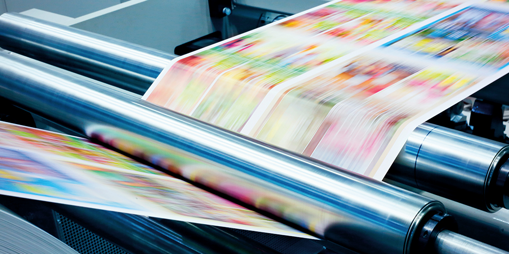 Closeup of full color digital printing press in use
