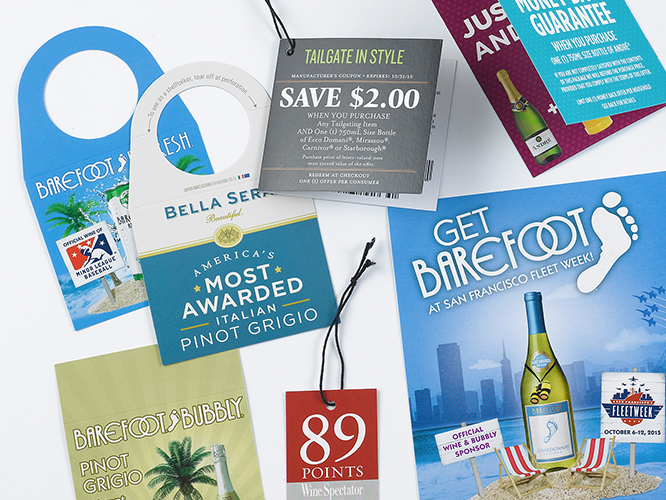 Beverage industry commercial print hang tags and bottle neckers