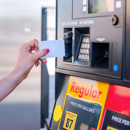 Gift loyalty and membership card being used at the pump of convenience c store
