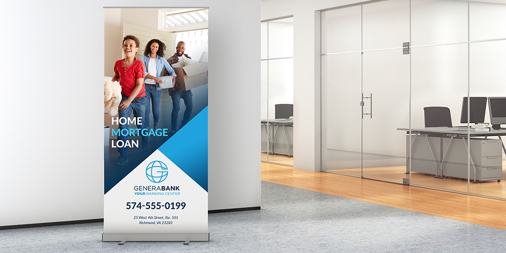 Retractable popup banner in office of financial services retail bank