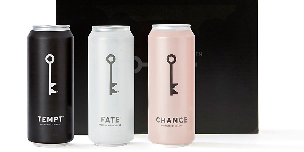 Custom shrink sleeve label packaging on cans of wine