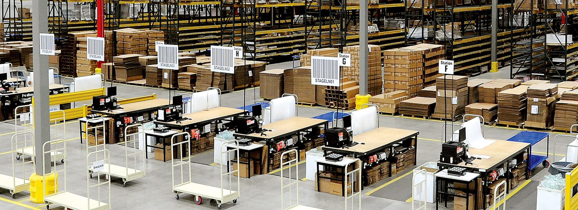 Interior of large warehousing kitting and fulfillment distribution center