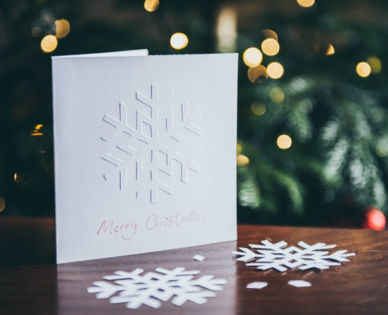 embossed fine printed holiday card