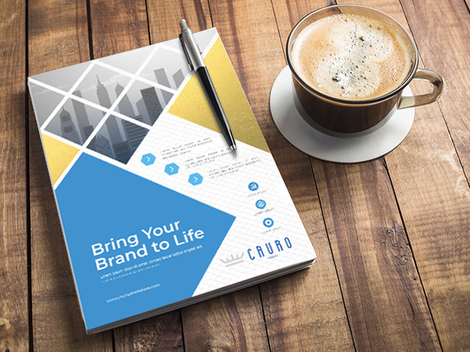Marketing collateral sample printed with bold colors on high-quality paper stock