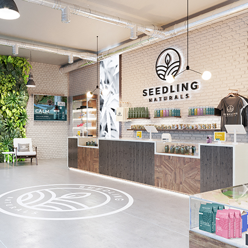A cannabis dispensary with wall and floor graphics, signage, branded apparel and custom packaging