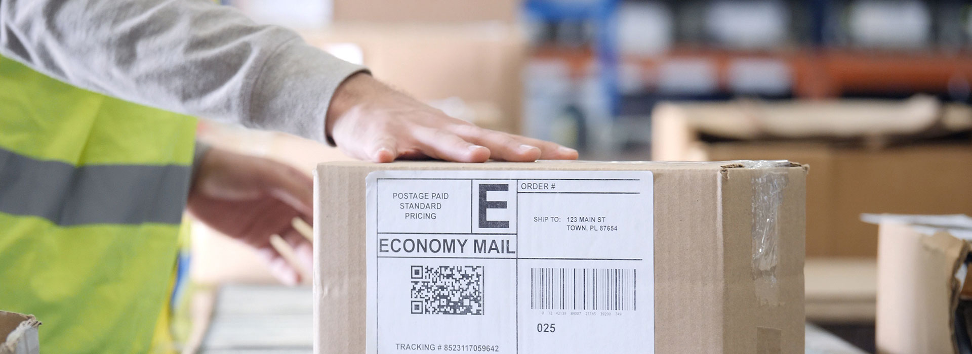 A direct thermal-printed label on a package ready for shipment