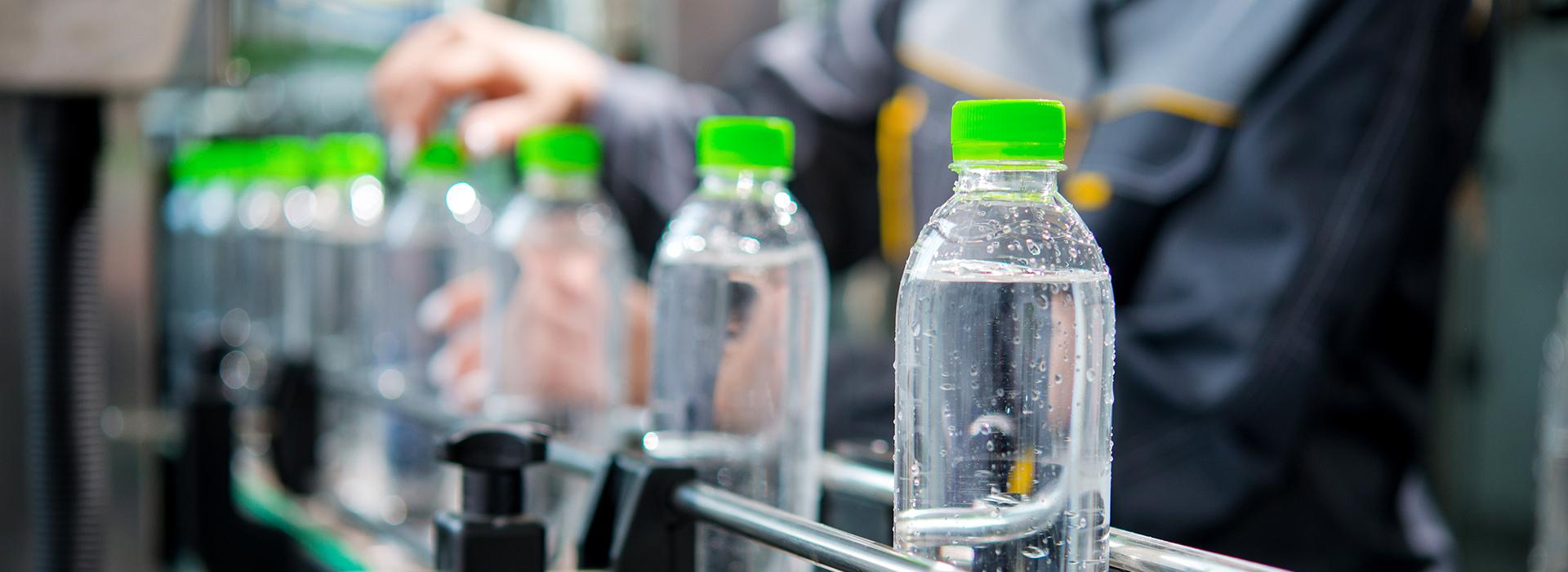 Plastic bottles on efficient production line