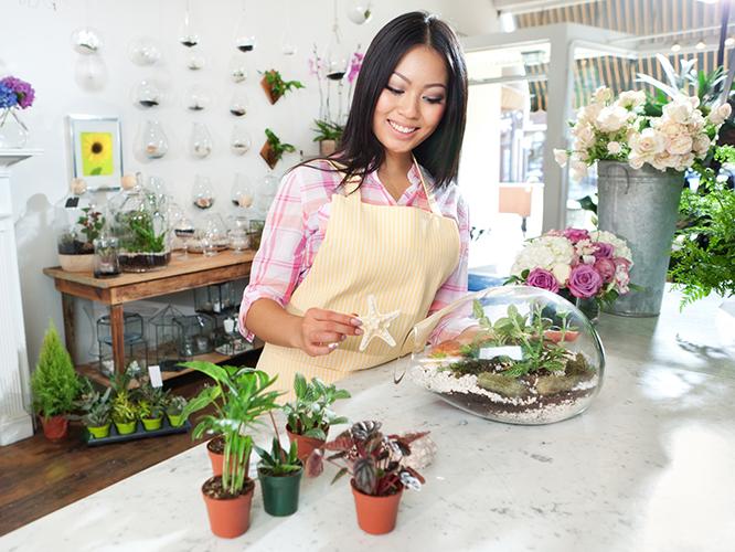 Pop-up shop employee arranging plants