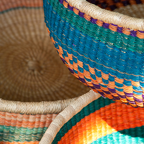 Fabric woven baskets used in retail store display