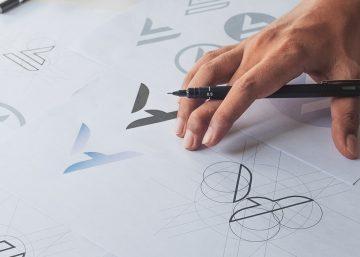 man designing logo and branding standards